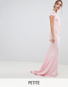 photo Fishtail Maxi Dress with Lace Detail by City Goddess Petite, color Pink - Image 1