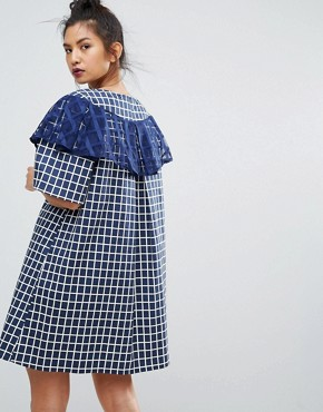 photo Gingham Check Dress with Ruffle Detail by Ziztar, color Blue - Image 2