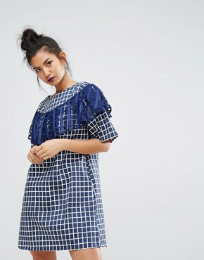 photo Gingham Check Dress with Ruffle Detail by Ziztar, color Blue - Image 1