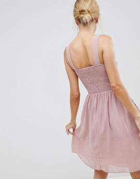 photo Chiffon Skater Dress with Embellished Detail by Little Mistress, color Rose - Image 2