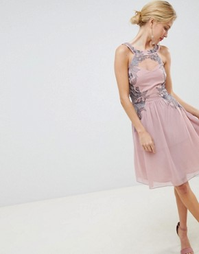 photo Chiffon Skater Dress with Embellished Detail by Little Mistress, color Rose - Image 1