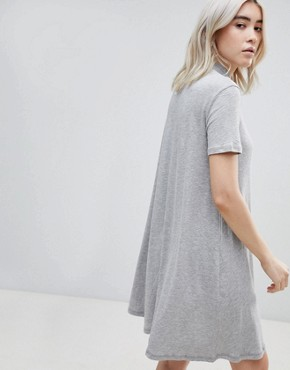 photo Jagged A-Line T-Shirt Dress by Cheap Monday, color Grey Mel - Image 2