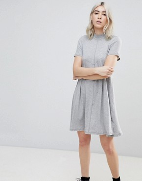 photo Jagged A-Line T-Shirt Dress by Cheap Monday, color Grey Mel - Image 1