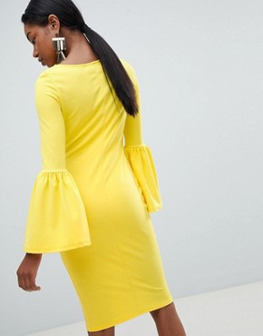 photo Pencil Dress with Extreme Frill Sleeve by Club L, color Yellow - Image 2