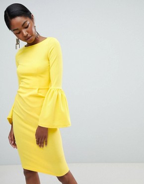 photo Pencil Dress with Extreme Frill Sleeve by Club L, color Yellow - Image 1
