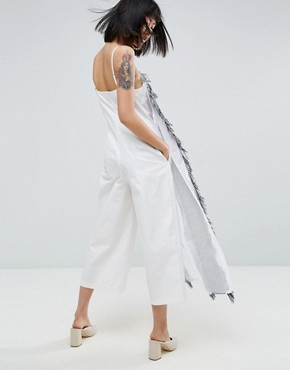 photo Fringe Apron Maxi Jumpsuit Dress by ASOS WHITE, color Multi - Image 2