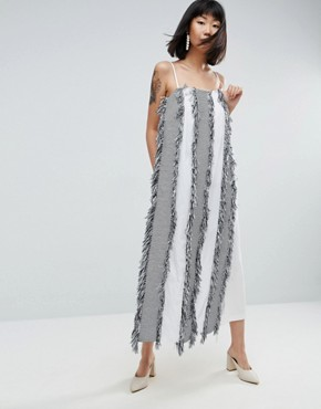 photo Fringe Apron Maxi Jumpsuit Dress by ASOS WHITE, color Multi - Image 1