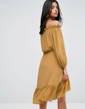 photo Lorna Silk Off Shoulder Tassel Dress by To Be Adored, color Tan - Image 2