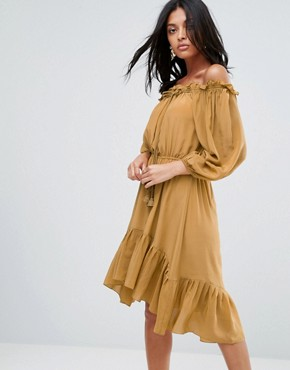 photo Lorna Silk Off Shoulder Tassel Dress by To Be Adored, color Tan - Image 1