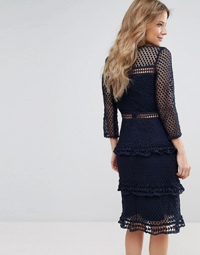 photo Layered Lace 3/4 Sleeve Midi Dress by Liquorish, color Navy - Image 2