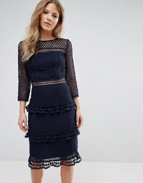 photo Layered Lace 3/4 Sleeve Midi Dress by Liquorish, color Navy - Image 1
