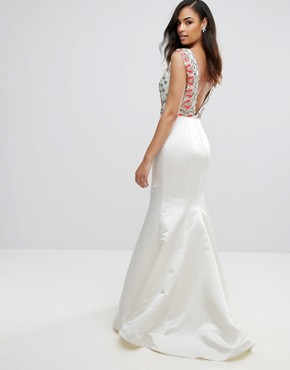 photo Fishtail Maxi Dress with Embrodiered Detail by Jovani, color White - Image 2