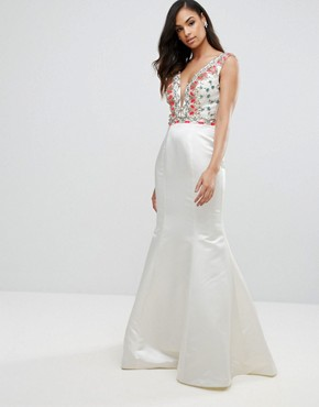 photo Fishtail Maxi Dress with Embrodiered Detail by Jovani, color White - Image 1