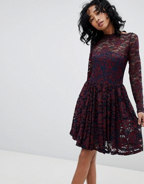 photo Flynn Lace Dress by Ganni, color Total Eclipse/Cabern - Image 1