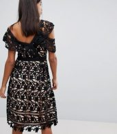 photo Whitney One Shoulder Lace Dress by Adelyn Rae, color Black - Image 2