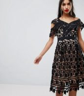 photo Whitney One Shoulder Lace Dress by Adelyn Rae, color Black - Image 1