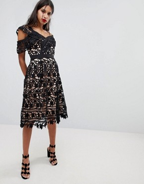 photo Whitney One Shoulder Lace Dress by Adelyn Rae, color Black - Image 4