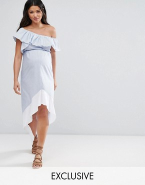 photo High Low Stripe One Shoulder Dress by ASOS Maternity, color Multi - Image 1