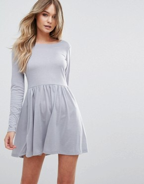photo Bow Skater Dress with Open Back Bow Detail by Brave Soul, color Dove Grey - Image 2
