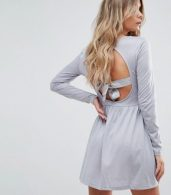 photo Bow Skater Dress with Open Back Bow Detail by Brave Soul, color Dove Grey - Image 1