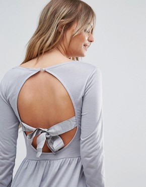 photo Bow Skater Dress with Open Back Bow Detail by Brave Soul, color Dove Grey - Image 3