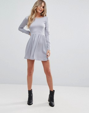 photo Bow Skater Dress with Open Back Bow Detail by Brave Soul, color Dove Grey - Image 4