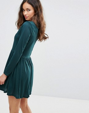 photo Stephens Long Sleeve Dress with Lace Insert by Brave Soul, color Forest Green - Image 2