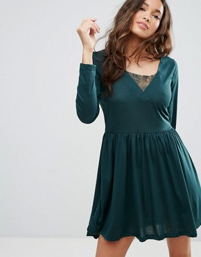 photo Stephens Long Sleeve Dress with Lace Insert by Brave Soul, color Forest Green - Image 1