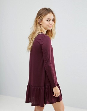 photo Moss Mini Dress with Peplum Hem by Brave Soul, color Burgundy - Image 2