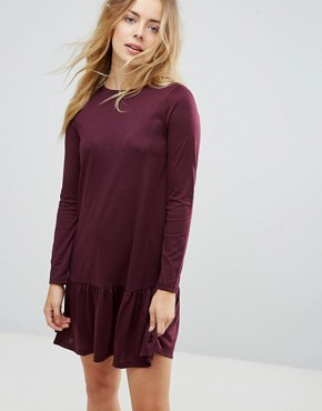photo Moss Mini Dress with Peplum Hem by Brave Soul, color Burgundy - Image 1