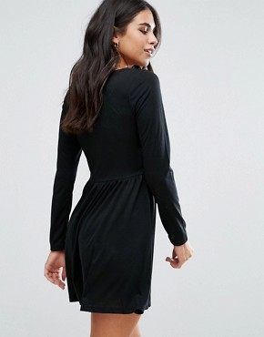 photo Stephens Long Sleeve Dress with Lace Insert by Brave Soul, color Black - Image 2