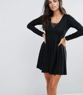 photo Stephens Long Sleeve Dress with Lace Insert by Brave Soul, color Black - Image 1