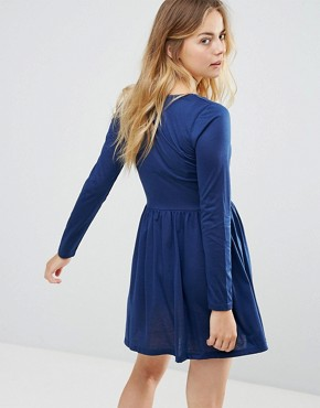 photo Stephens Long Sleeve Dress with Lace Insert by Brave Soul, color Midnight - Image 2