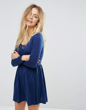 photo Stephens Long Sleeve Dress with Lace Insert by Brave Soul, color Midnight - Image 1
