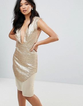 photo Metallic Dress by Glamorous, color Gold - Image 1