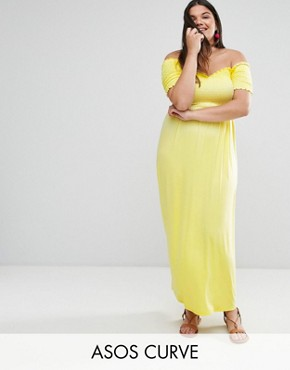 photo Off Shoulder Maxi Sundress with Shirring by ASOS CURVE, color Lemon Yellow - Image 1