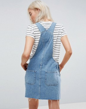 photo Denim Dungaree Dress in Midwash Blue by ASOS DESIGN, color Blue - Image 2