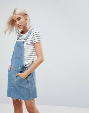 photo Denim Dungaree Dress in Midwash Blue by ASOS DESIGN, color Blue - Image 1