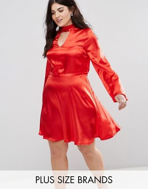 photo Satin Choker Skater Dress by Club L Plus, color Red - Image 1