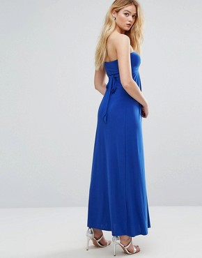 photo Bandeau Maxi Dress with Cut Out Detail by City Goddess, color Royal Blue - Image 2