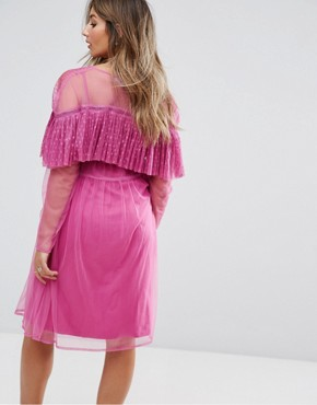photo Mesh Wrap Dress with Dobby Ruffle by ASOS Maternity, color Pink - Image 2