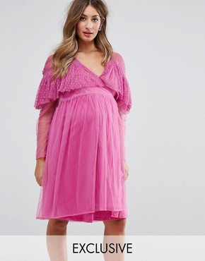 photo Mesh Wrap Dress with Dobby Ruffle by ASOS Maternity, color Pink - Image 1