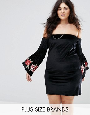 photo Bardot Embroidery Sleeve Detail Dress by Club L Plus, color Black - Image 1