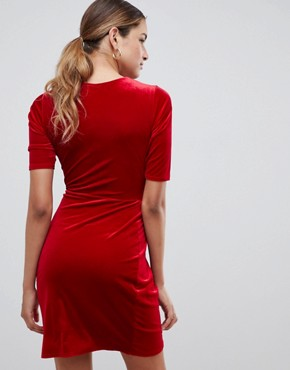 photo Velvet Wrap Front Dress by Club L, color Bright Red - Image 2