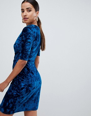 photo Velvet Wrap Front Dress by Club L, color Royal Blue - Image 2