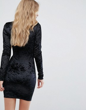 photo Velvet Embroidery Detail Bodycon Dress by Club L, color Black - Image 2