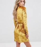 photo Crushed Gold Velvet Wrap Dress by Club L, color Gold Crushed - Image 2