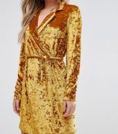 photo Crushed Gold Velvet Wrap Dress by Club L, color Gold Crushed - Image 3