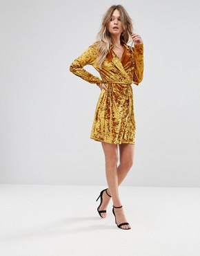 photo Crushed Gold Velvet Wrap Dress by Club L, color Gold Crushed - Image 4
