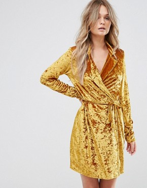 photo Crushed Gold Velvet Wrap Dress by Club L, color Gold Crushed - Image 1
